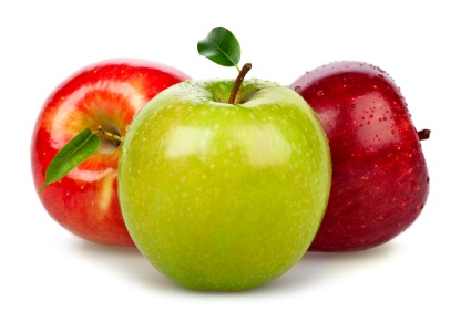 apples group fruit vegetable isolated on white