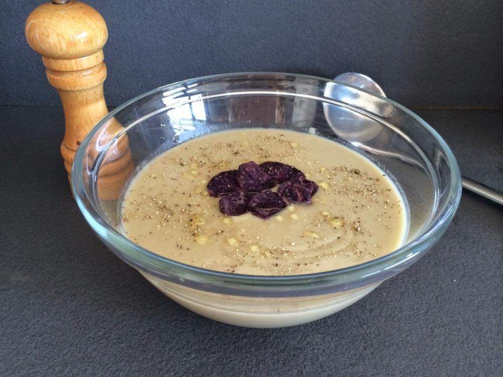 crema de berenjenas y cebolla con patatas violet
